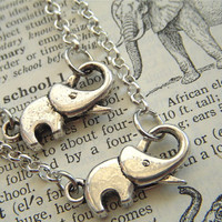 Set of 2 Silver Elephant Necklaces Antiqued Silver Tone Baby Elephant Rolo Chain Fashion Jewelry Trunk Up for Good Luck By Cosmic Firefly