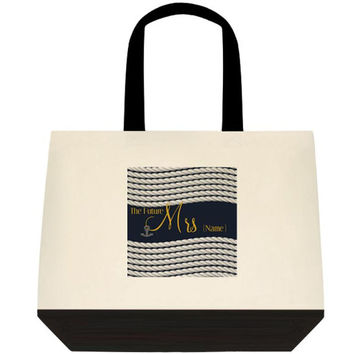 Navy Blue & Gold Nautical Theme Bridal Tote Wedding Carry All
