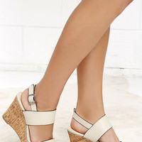 In Context Stone Beige Wedge Sandals