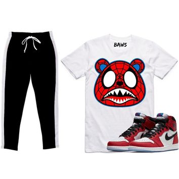 Jordan 1 Spider Man Sneaker Outfit - SPIDER BAWS - Shirt & Track Pants