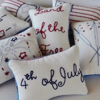 4th of July Decorative Pillows - Independence Day - Fireworks - Flag - Land of the Free - Sparklers - Patriotic - Red - White - Blue - Plaid