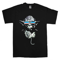 DJ Yoda Jedi Master Star Wars  For T-shirt Unisex Adults size S-2XL Black and White