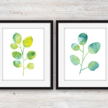 "Botanical Leaf Watercolour Silhouettes 8x10"" (2 set)"