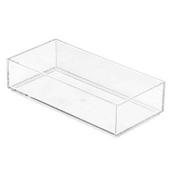 "InterDesign Clarity Cosmetic Drawer Organizer for Vanity Cabinet to Hold Makeup, Beauty Products - 4"" x 8"" x 2"", Clear"