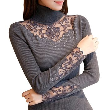 Solid Turtleneck Lace Knitted Pullovers Winter Fashion Sweater