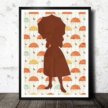 Vintage Retro Style 4, Fashion Woman, Illustration Art print, umbrella poster, umbrella watercolor, Abstract poster, fashion illustration
