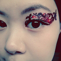 1 Pair of Temporary Tattoo Transfer Stickers for Eyes Eyelids Dark Red Ornament Eye Laced for Prom Festival Clubbing Party