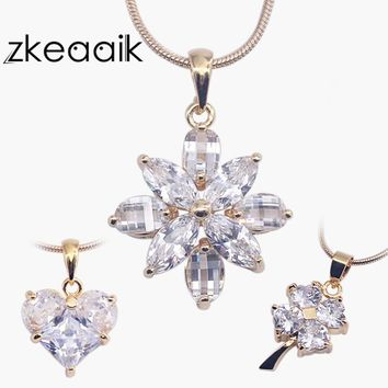 Lucky clover Rose Gold Color Flower pattern Necklaces Pendants AAAAA Zircon For Women Christmas Gift Heart-shaped love jewelry