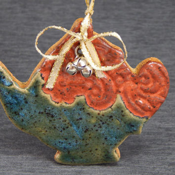 ceramic teapot ornament, red and green ornament, Christmas ornament, holiday decor