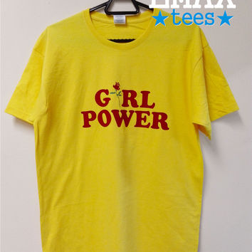 Girl Power T-shirt with Rose Print in Yellow, Baby Pink and Light Blue Color Unisex 100% Cotton T Shirt