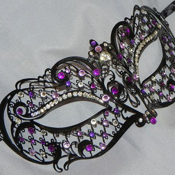 Metallic Lattice Filigree Masquerade Mask with Purple Accents