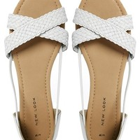 New Look Hermione White Woven Peep Toe Flat Sandals
