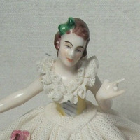 Antique Collectable DRESDEN Pre-War Porcelain Dancing Woman Figurine in White Lace Dress