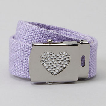 GIRLS lavender Rhinestone heart buckle belt - can come on any color belt strap
