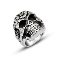 2015 New Plants skull titanium steel ring Jewelry SA824