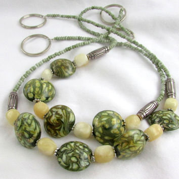 Curtain Tiebacks, Lampwork Bead Curtain Tiebacks, Green & Yellow Beaded Tiebacks