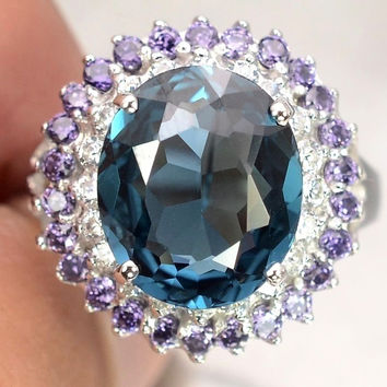 SALE  Vintage 6.25CT Oval Cut London Blue Topaz Purple Amethysts White Sapphire Ring