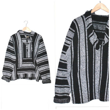 early 90s GRUNGE Baja pull over DRUG RUG vintage black + grey Mexican serape hoodie sweater unisex os