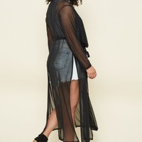 Plus Black Sheer Mesh Duster