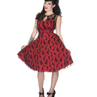 Voodoo Vixen Red Floral Overlay Dress