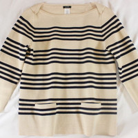 "~~~ SO PREPPY ~~~ J. CREW NUDE/BLACK ""STRIPED"" 3/4 SLEEVE SWEATER/KNIT TOP ~ S/M"