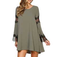 Flare Cutout Lace-Paneled Sleeves Trapeze Dress