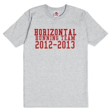 Horizontal Running Team-Unisex Dark Ash T-Shirt