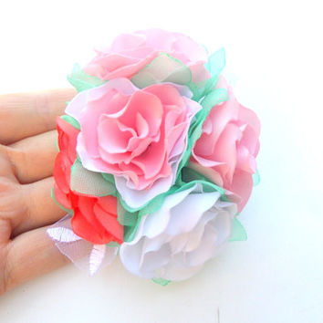 Clip for hair , Pink coral white flowers, Pink Wedding, Spring, Pink roses , Wedding, Accessories hair,Summer Wedding, Pink and mint