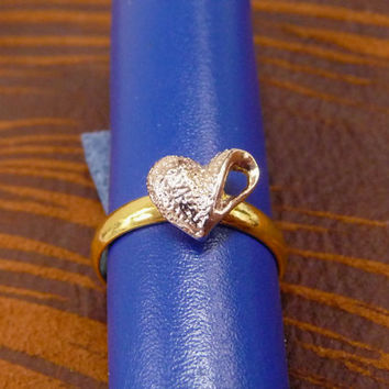 A tiny gold plated heart charm mult-task ring, above knuckle ring,adjustable finger ring,stackable ring, toe ring, little finger ring,