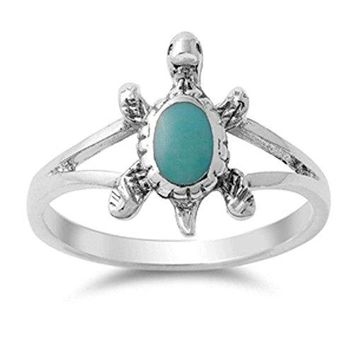 Oxford Diamond Co Solid Simulated Turquoise Turtle 925 Sterling Silver Ring Sizes 511