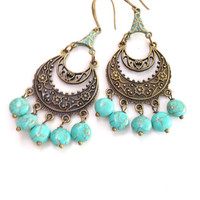 Chandelier Earrings ,Gypsy Turquoise Earrings , Antique Bronze and Patina Earrings by Lyrisgems.