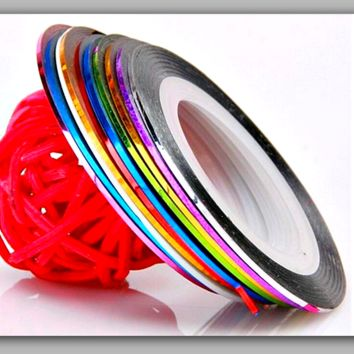 10 Rolls Nail Tape Mixed Colors