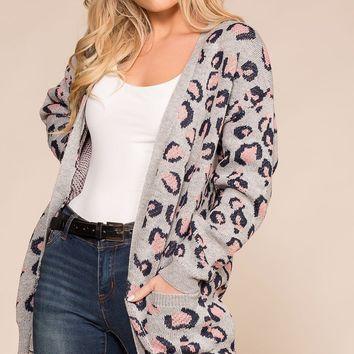 Going In Circles Heather Grey Leopard Knit Cardigan