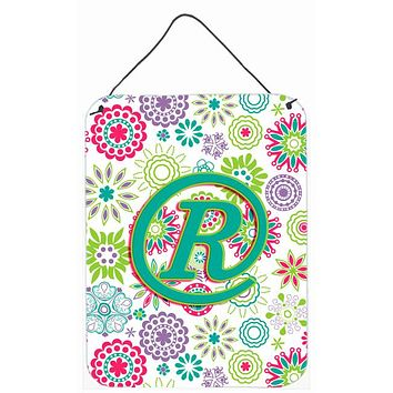 Letter R Flowers Pink Teal Green Initial Wall or Door Hanging Prints CJ2011-RDS1216