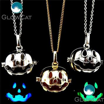 GLOWCAT 20909 Halloween Locket Cage Necklace Magic Copper Necklace Pendant Collar Funny Pumpkin Box for Man Kids Gifts