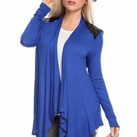 ROYAL BLUE BLACK FAUX LEATHER QUILTED PANEL ASYMMETRICAL OPEN CARDIGAN