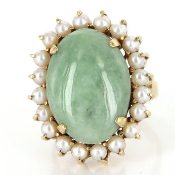 Vintage 14k Yellow Gold Jade Cultured Pearl Large Cocktail Ring Estate Jewelry