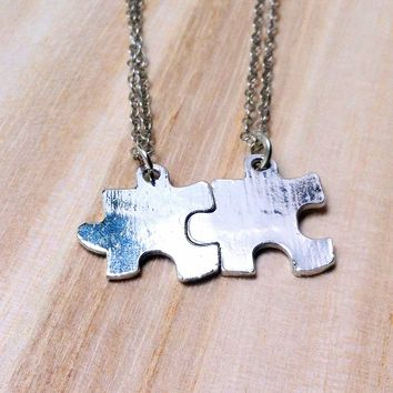 pair of his and hers / couple or best friends or siblings jigsaw puzzle piece necklaces (2 pieces)