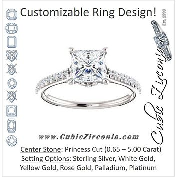 Cubic Zirconia Engagement Ring- The Delanie (Customizable Cathedral-set Princess Cut Style with Thin Pavé Band, Inlaid Milgrain and Tiny Peekaboo Accents)