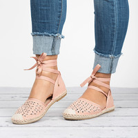 Lace Up Espadrilles Shoes - Pink