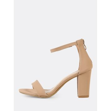 Single Band Zip Back Chunky Heel TAN