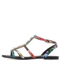 Black Combo Gem-Embellished Strappy Flat Sandals by Charlotte Russe