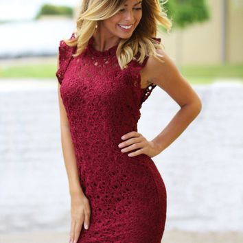 Burgundy Crochet Short Dress