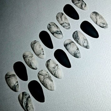 Marble Stiletto Nails- Press on Nails- Glue on Nails- Acrylic Nails- Artificial Nails- False Nails- Faux Nails- Matte Nails- Fake Nails