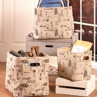 Sets of 3 Printed Fabric Baskets