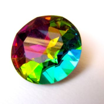 VITRAIL MEDIUM - Large Rainbow Vitrail Green Round Rivoli Cut Shape Swarovski Crystal - 28mm Jewelry Supplies