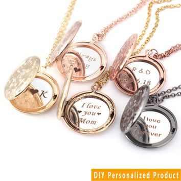 Message Locket Necklace Pendant Personalized Custom Engraved Name Date Carving Chain 5 Colors