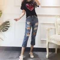 """Chloé"" Women Casual Fashion Embroidery Sequin Love Heart Letter Short Sleeve T-shirt Ripped Jeans Trousers Set Two-Piece"