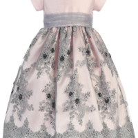 Pink Shantung & Silver Embroidered Tulle Girls Holiday Dress w. Sequins 2T-12
