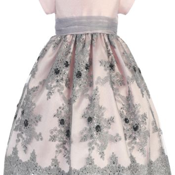 Girls Pink Shantung & Silver Embroidered Tulle Dress w. Sequins 2T-12